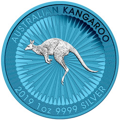 KANGAROO Space Blue Edition 1 oz Silver Coin 1$ Australia 2019