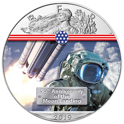 NEXT STEP TO THE MOON - 50th. ANN. 1 oz Silver Eagle Coin 2019 USA
