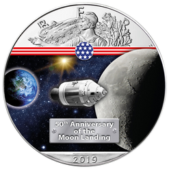 ON THE WAY TO THE MOON - 50th. ANN. 1 oz Silver Eagle Coin 2019 USA