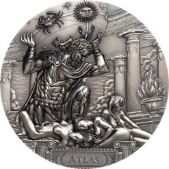 Titan Atlas & the Hesperides - Gods Of The World 3 Oz Silver Coin 20$ Cook Islands 2019