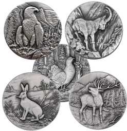 SWISS Wildlife ·Complete 5 Coins Ultra High Relief 1 oz Silver 2014-6 Niue