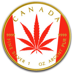 Cannabis Legalized Maple Leaf Flag- 1 Oz .9999 Silver Coin 5$ 2018