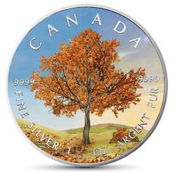 """AUTUMN """"Four Seasons"""" Maple Leaf Series 1 Oz Silver Coin Canada 2019"""