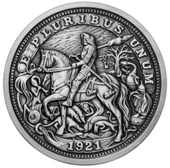 DURER's KNIGHT 5 oz Silver Antique finish round with Serial Number