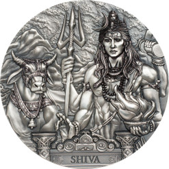 SHIVA - Gods Of The World 3 Oz Silver Coin 20$ Cook Islands 2019