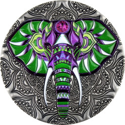 ELEPHANT Mandala Collection 2 Oz Silver Coin 5$ Niue 2019