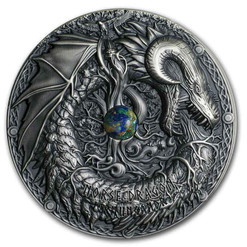 NORSE DRAGON Mythical Creatures 2 Oz Silver Coin 10$ Palau 2019