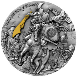 CHINGGIS KHAAN 2 Oz Silver Ultra High relief Coin $5 Niue 2019