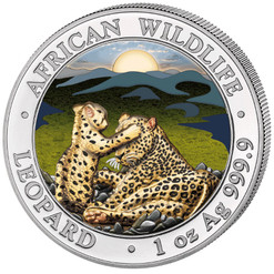LEOPARD with cub - African Wildlife 1 oz Silver color Coin 2019 Somalia