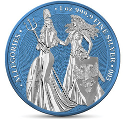 BRITANNIA & GERMANIA 2019 –The Allegories Space Blue 5 Mark 1oz Silver