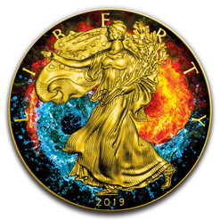 YING YANG Water and Fire 1oz Silver Eagle Gilded Colorized Coin 2019