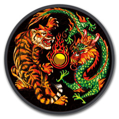 DRAGON & TIGER 1 oz Ruthenium Colorized Coin $1 2018 Australia