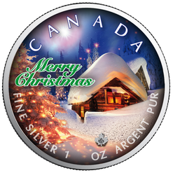SILENT NIGHT Maple Leaf 1 oz Silver Coin Canada 2019