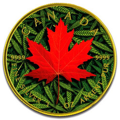 MARIJUANA Cannabis Maple Leaf 1 oz Silver Coin Canada 2019