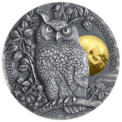LONG EARED OWL 2 Oz Silver with Gold Gilding Coin $5 Niue 2019