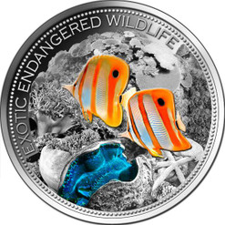 Great Barrier Reef High Relief - Satin Antique Finish 2 Oz Silver Coin Fiji 2013