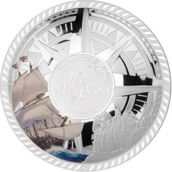 MAYFLOWER JOURNEY 50 g Silver Convex Coin Solomon Islands 2020