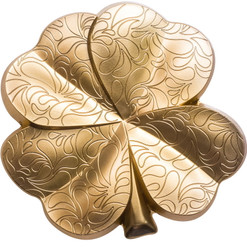 GILDED FORTUNE Four Leaf Clover Shape 1 oz Silver Coin Palau 2020