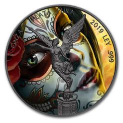 SANTA MUERTE Libertad 1 oz Silver Ruthenium plated Coin Mexico 2019