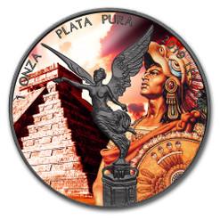 MONTEZUMA AZTEC EMPEROR Libertad 1 oz Silver Ruthenium plated Coin Mexico