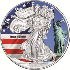 2014 1 oz Silver American Eagle Color America`s Landmarks Series-Statue of Liberty N.Y.