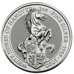 Queen's Beasts WHITE HORSE of Hanover 2 oz Silver Coin 2020