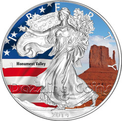 2014 1 oz Silver American Eagle Color America`s Landmarks Series- Monument Valley