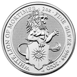Queen's Beasts WHITE LION of Mortimer 2 oz Silver Coin 2020