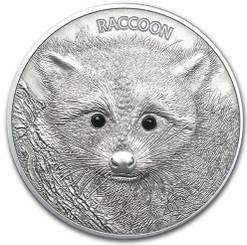 50 Vatu Vanuatu 2013 Raccoon with Onyx Eyes Silver Coin
