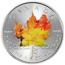 2014 1 oz Silver Coin - Maple Leaf Autumn Landscape Color