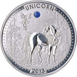UNICORN Series Opal Gemstone Silver Coin 1000 Francs Cameroon