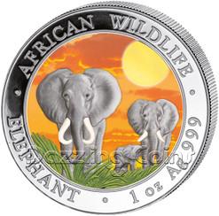 2014 1 oz Silver Coin - Somalia African Elephant - Sunset