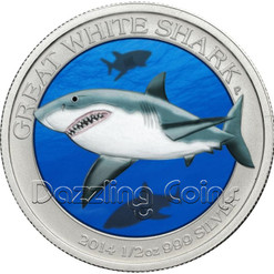 Great White Shark Color .999 Silver Coin