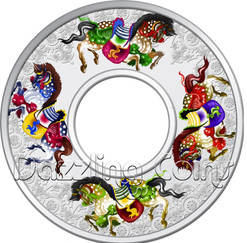 2014 Tokelau Carousel of Horses Large Coin - 2 Oz Silver .999 Proof