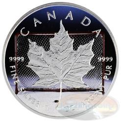 1 oz Maple Leaf Hockey~Silver.9999 $5 CA 2014