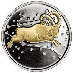 2015 Myth & Legend - Aries 1 oz  Silver Gilded Proof Tokelau Coin