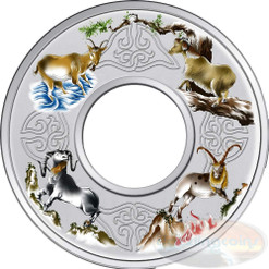2 oz Elemental Goat - Silver Colored Proof Ring-Shaped 2015 Tokelau