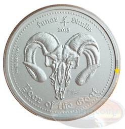 "2015 GHANA ""Lunar Skulls"" Year of the Goat 1oz .999 Silver High Coin"