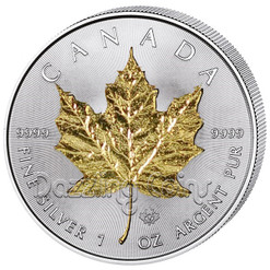 2015 1 oz. Silver Maple Leaf Gilded