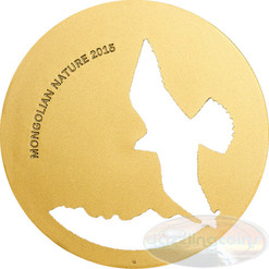 Mongolia 2015 500 Togrog Mongolian Nature - Falco cherrug Gold PL