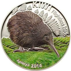The Kiwi -1 oz. Silver color Coin 5$ Cook Islands 2014