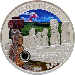 Easter Island Rapa Nui Moai Silver Coin 5$ Cook Islands 2014