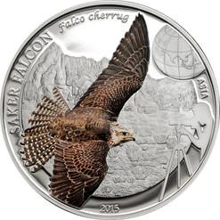 SAKER FALCON- 250 Togrog 1oz .999 Silver Proof Coin Mongolia 2015