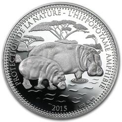 Hippopotamus  1,000 Francs CFA  - 1 oz. silver