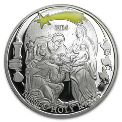 Three Holy Kings - Biblical Stories Silver Coin 2$ Palau 2014