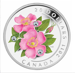 $20 Wild Rose with Swarovski Crystal Silver Coin 2011