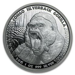 Silverback Gorilla 1 oz .999 Silver PL Coin 2015 Congo