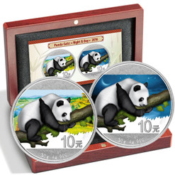 2x 30 g Silver Color Panda Day - Night 10 Y China 2016