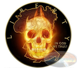 BURNING SKULLS series - Liberty - 2015 1 oz Silver Eagle Coin - Ruthenium&Gold