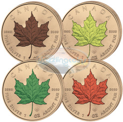 2016 5 $ Maple Leaf Four Seasons~ fully Gold Plated 4 coins  Set